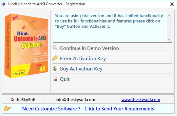 Screenshot help for Hindi Unicode To ANSI Converter software