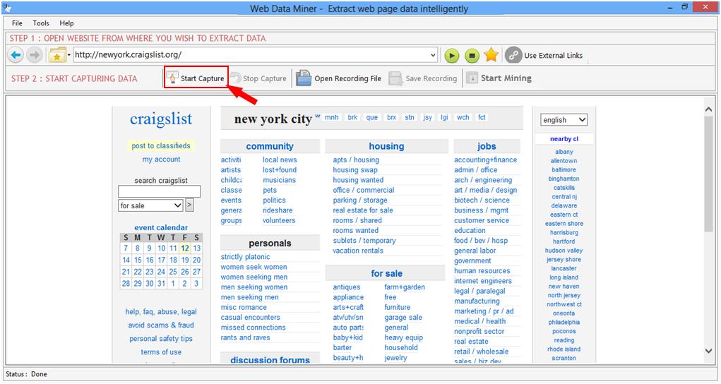 Screenshot help for Web Data Miner software